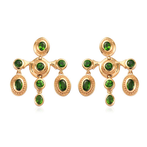 Russian Diopside Earrings (with Push Back) in 14K Gold Overlay Sterling Silver 3.25 Ct, Silver wt 8.