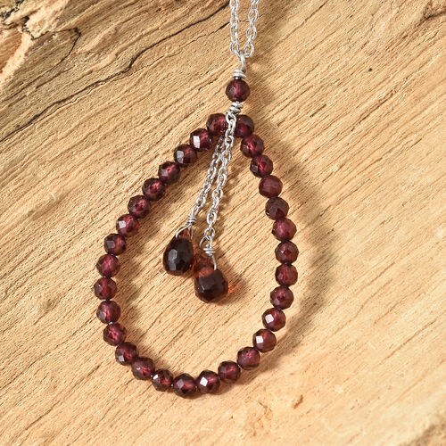 Designer Inspired - Rhodolite Garnet (Rnd), Mozambique Garnet Necklace (Size 20) in Platinum Overlay Sterling Silver 7.600 Ct.