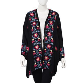 Flower Embroidery Pattern Kimono (Size 75x80 Cm) - Black and Multi