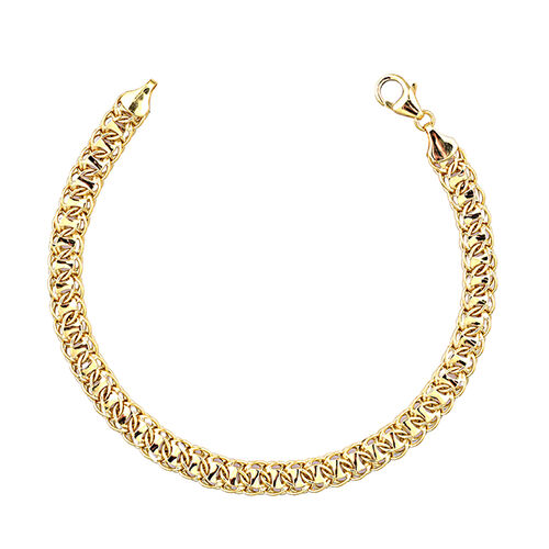9K Yellow Gold Curb Chain Bracelet Size 7.5 with 1 inch Extender, 4.12 Grams