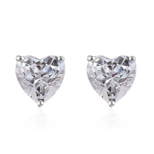 J Francis - Sterling Silver (Hrt) Stud Earrings Made with SWAROVSKI ZIRCONIA 4.20 Ct.
