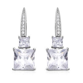 ELANZA Simulated Diamond Drop Earrings in Rhodium Plated Silver