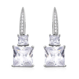 ELANZA Simulated Diamond (Oct) Earrings (with Push Back) in Rhodium Overlay Sterling Silver