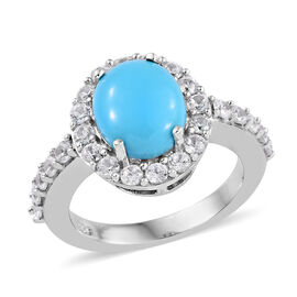 3.5 Ct Sleeping Beauty Turquoise and Cambodian Zircon Halo Ring in Platinum Plated Sterling Silver