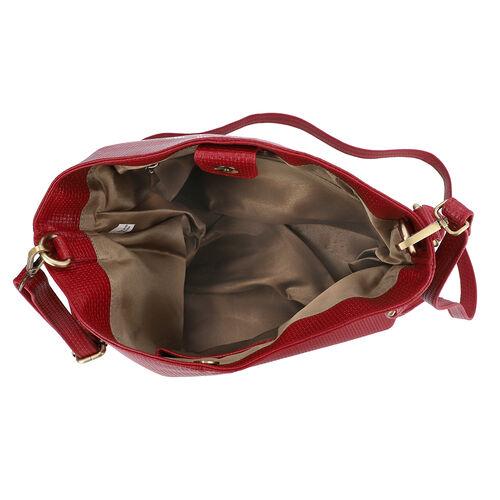 100% Genuine Leather Weave Pattern Designer Handbag with Detachable Shoulder Strap (Size 30x13x28 Cm) - Red