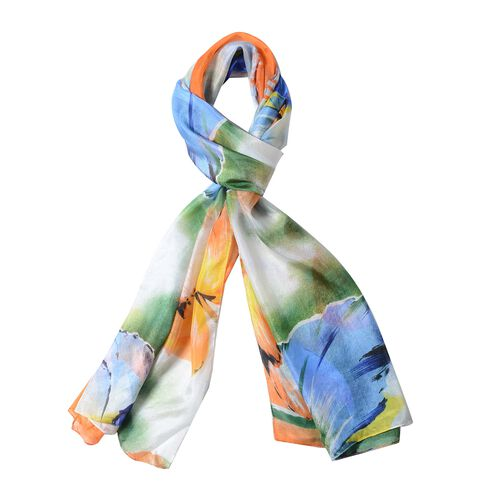 100%  Mulberry Silk Green and White Colour Flower Pattern Scarf (Size 175x53 Cm)