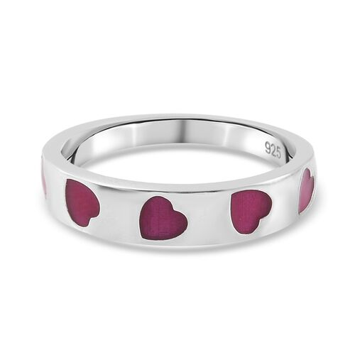 Platinum Overlay Sterling Silver Enamelled Hearts Band Ring