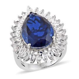 Ceylon Colour Quartz (Pear 9.25 Ct), White Topaz Ring in Platinum Overlay Sterling Silver 11.500 Ct,