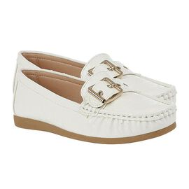 Lotus Buckle Detailing White Loafer