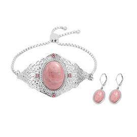 2 Piece Set - Rhodochrosite and Pink Crystal Adjustable Bracelet (Size 6.5 - 9.5) and Lever Back Ear