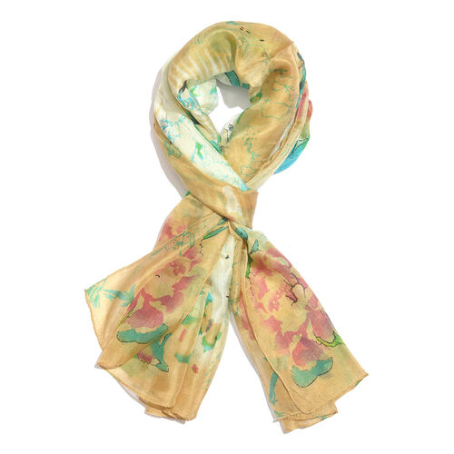 100% Mulberry Silk Off White, Green and Multi Colour Handscreen Floral and Butterfly Printed Scarf (