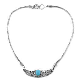 Limited Edition-Royal Bali Collection Rare Size Sleeping Beauty Turquoise (Ovl 12x10mm) Necklace (Size 18) Sterling Silver 4.00 Ct, Silver wt 24.21 Gms.