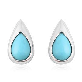 LucyQ AAA Arizona Sleeping Beauty Turquoise Drop Stud Earrings (with Push Back) in Rhodium Overlay S