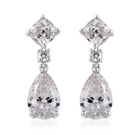 J Francis Made with Swarovski Zirconia Drop Earrings in Platinum Plated Sterling Silver