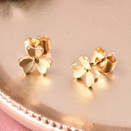 RACHEL GALLEY - Yellow Gold Overlay Sterling Silver 3-Leaf Flower Stud Earrings (with Push Back)