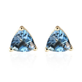 Super Auction-9K Yellow Gold Santa Maria Aquamarine (Trl) Stud Earrings (with Push Back) 0.750 Ct.