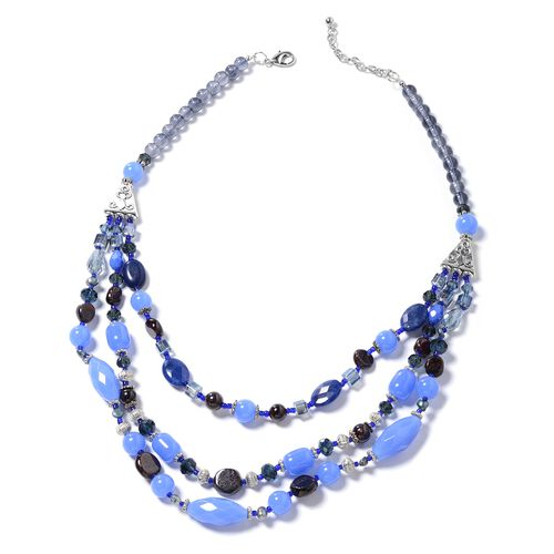Blue Quartz, Simulated Blue Sapphire, Garnet, Simulated Grey Moonstone, Fresh Water Peacock Pearl, Afghan Lapis Lazuli and Multi Colour Beads Necklace (Size 24) in Silver Bond.