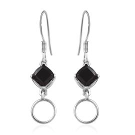Elite Shungite (Cush) Hook Earrings (with Push Back) in Platinum Overlay Sterling Silver 1.25 Ct.