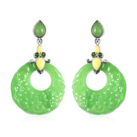 Green Jade and Russian Diopside Drop Earrings in Rhodium Overlay Sterling Silver 43.60 Ct.