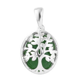 One Time Deal- Green Jade (Ovl)  Tree of Life Pendant in Sterling Silver 6.000 Ct.