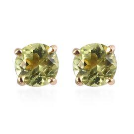 9K Yellow Gold AA Hebei Peridot Stud Earrings (with Push Back)