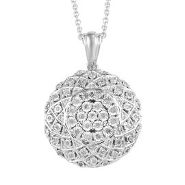 GP Diamond and Blue Sapphire Pendant With Chain (Size 18) in Platinum Overlay Sterling Silver 0.52 C