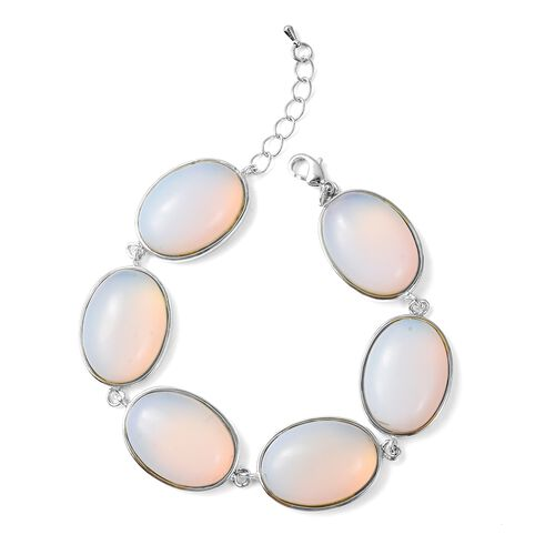 Opalite (Ovl) Bracelet (Size 8.5 with 1 inch Extender) and Hook Earrings in Stainless Steel 177.00 Ct.