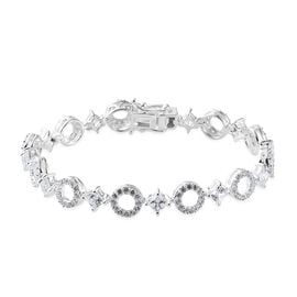 J Francis Made with SWAROVSKI ZIRCONIA 7.5 Inch Bracelet in Silver 12.97 Grams