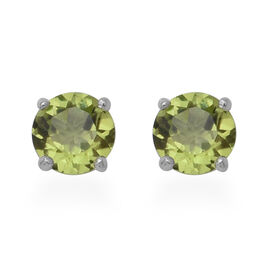 AA Hebei Peridot Solitaire Stud Earrings (with Push Back) in Sterling Silver 2.00 Ct.