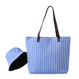 2 Piece Set - Blue Checkered Pattern Tote Bag with Zipper Closure (45x12x35cm) and Matching Hat