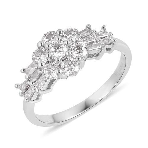 ILIANA 18K White Gold IGI Certified Diamond (Rnd and Bgt) (SI/G-H) Ring 1.000 Ct.