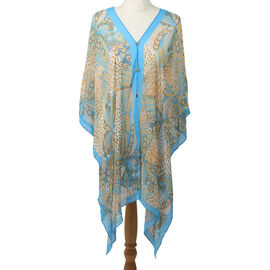 Poncho Style Summer Beach Covering in Light Blue and Brown (One Size; Length 76 cm)