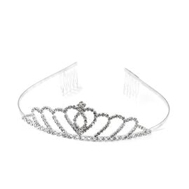 Austrian White Crystal (Rnd) Hair Crown in Silver Plated