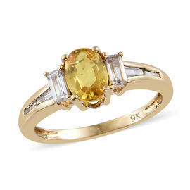 1.85 Ct AAA Yellow Sapphire and Cambodian Zircon 3 Stone Ring in 9K Gold 2 Grams