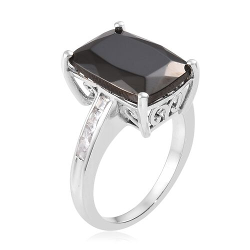 Elite Shungite (Cush), Natural Cambodian Zircon Ring in Platinum Overlay Sterling Silver 5.00 Ct.