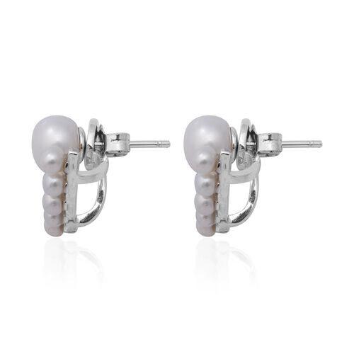 Freshwater Pearl Detachable Earrings (with Push Back) in Rhodium Overlay Sterling Silver