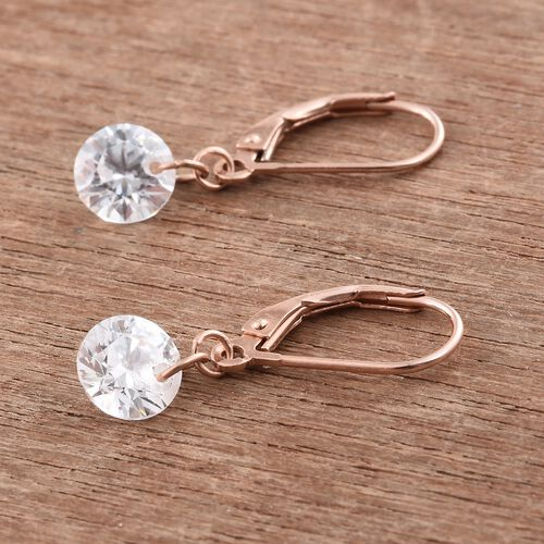 J Francis - Rose Gold Overlay Sterling Silver (Rnd) Lever Back Earrings Made with SWAROVSKI ZIRCONIA