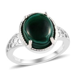 Malachite (Ovl 12x10 mm) Solitaire Ring (Size L) in Sterling Silver 3.50 Ct.