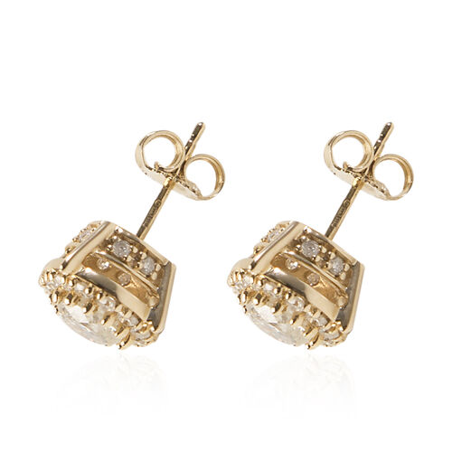 NY Closeout Deal - 14K Yellow Gold Certified Diamond (GH/I1-I2) Stud Earrings 1.50 Ct.