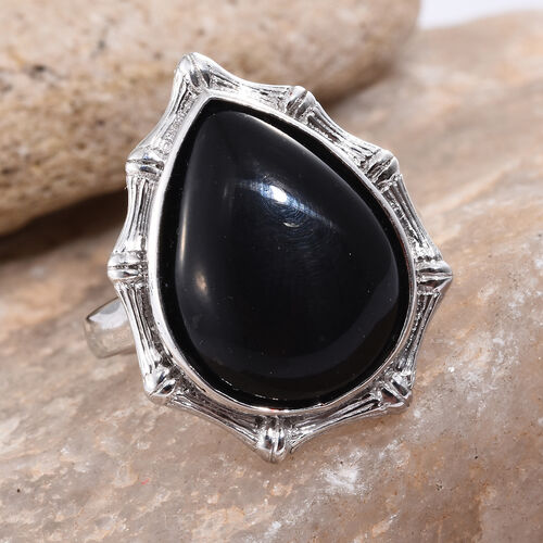 Shungite (Pear) Ring in Platinum Overlay Sterling Silver 10.000 Ct. Silver wt 6.70 Gms.