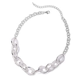 White Austrian Crystal Twisted Design Necklace in Silver Tone 18 With 3 Inch Extender