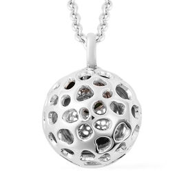 RACHEL GALLEY Russian Diopside Lattice Globe Pendant with Chain  (Size 20 with Extender) in Rhodium