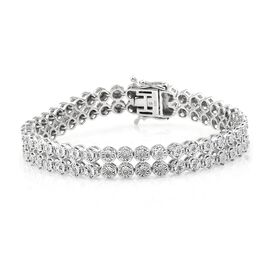 Diamond (Rnd) Bracelet (Size 7.5) in Platinum Overlay Sterling Silver 0.500 Ct. Silver wt 23.50 Gms.