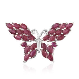 African Ruby (Mrq and Rnd) Butterfly Pendant in Platinum Overlay Sterling Silver 5.250 Ct.