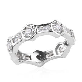 J Francis Made with SWAROVSKI ZIRCONIA Band Ring in Platinum Plated Silver