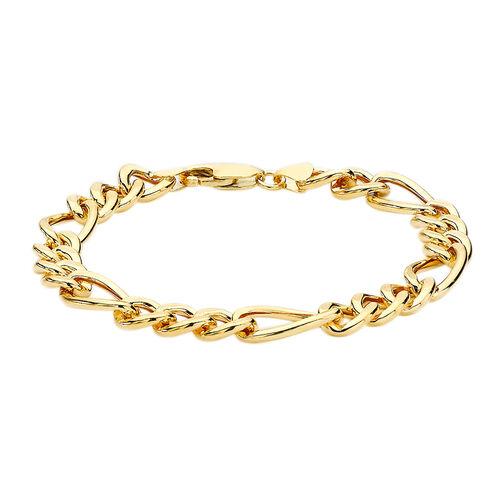 9K Yellow Gold Figaro Bracelet, (Size 8), Gold Wt. 6.14 Gms