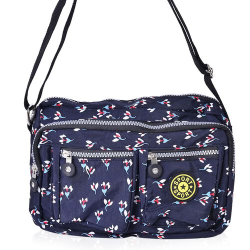 Navy, Black and Multi Colour Floral Pattern Multi Pocket Waterproof Crossbody Bag with Adjustable Shoulder Strap (Size 27X18X9 Cm)