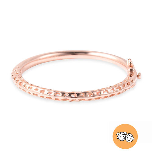 RACHEL GALLEY Rose Gold Overlay Sterling Silver Allegro Kids Bangle (Size 4.95), Silver wt 11.95 Gms