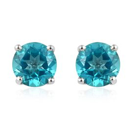 Signity Paraiba Topaz (Rnd) Stud Earrings (with Push Back) in Platinum Overlay Sterling Silver 2.00