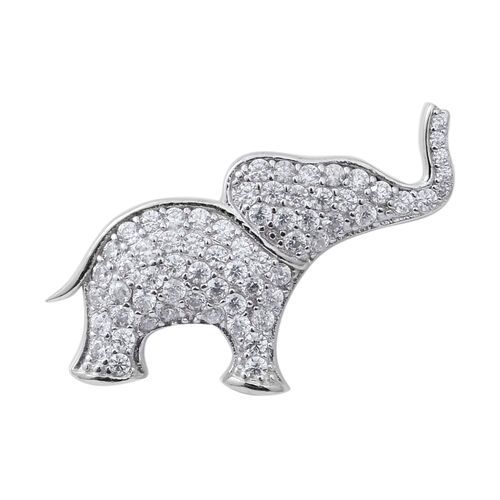 ELANZA Simulated Diamond (Rnd) Elephant Pendant in Rhodium Overlay Sterling Silver